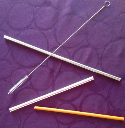 Paper, plastic and re-usable stainless steel straw with cleaning brush