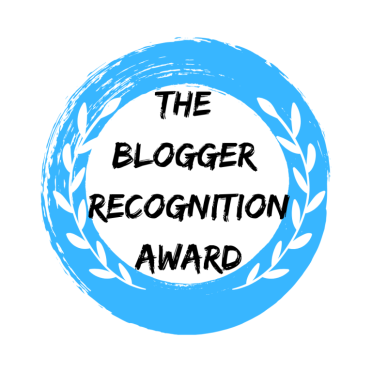 The Blogger Recognition Award logo crest.