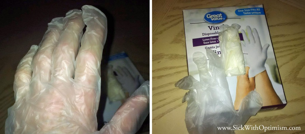 two pictures, left is a hand wearing a thin vinyl food prep glove, right is a bulk box of gloves with one draped over it
